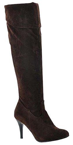 printemps automne bottes femmes bottes de genou bottes Chevalier marron nubuck