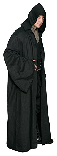 Imagen de disfraz de sith o jedi de star wars, sólo la túnica, color negro, réplica alternativa