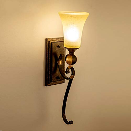 Wandleuchte Eisen und Glas Nostalgische Atmosphäre Wohnzimmer Flur Eisen und Glas Wand Boden Klassisch Balkon Landhaus Lampe Einzelkopf E27,14 x 54 cm Fashion(Farbe:#1) #1 -
