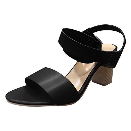 ABsoar Pumps Damen,ABsoar Party High Heels Schuhe Mode Sexy Pearl Fußring Sandalen Frauen rutschfeste Sandalen mit Blockabsatz Sptize Sommersandalen Elegent Urlaub Slipper (Beige,35)