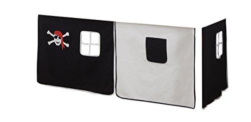 Vorhang Hochbett, Kinderbett Seemann/Pirat Stoff 3-teilig schwarz-weiß incl.Kebeklett