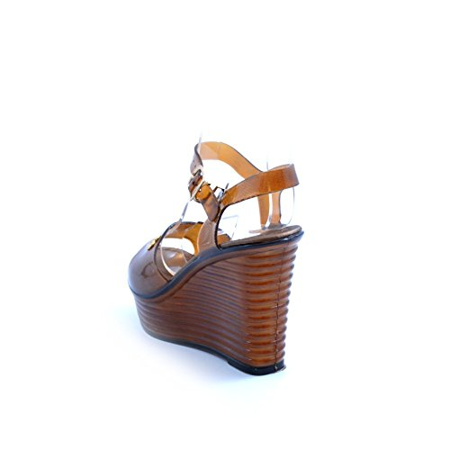 Cafenoir Mhe009 Sandales Compensées Noires Et Marron Chaussures Pour Femmes Avec Plateforme Marron
