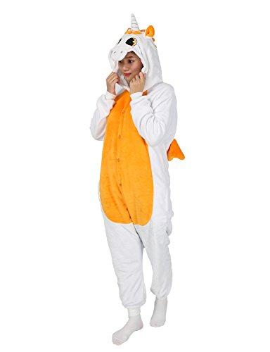 Pigiama Caldo Costume con Cappuccio Animali Onesies Sleepwear Unisex per Adulti Cosplay Carnevale Halloween Kigurumi regalo per Natale Arancione