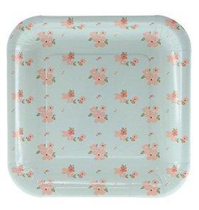 10 Hell-Blaue Frühlingshafte Blumen-Papp-Teller – Quadratisch (Blumen Pappteller)