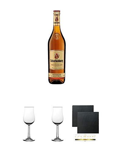 Scharlachberg deutscher Weinbrand 0,7 Liter + Nosing Gläser Kelchglas Bugatti mit Eichstrich 2cl...