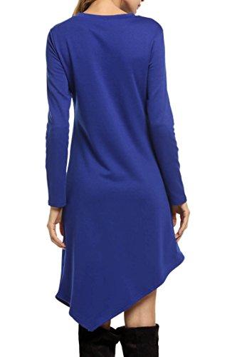 Meaneor Damen Unregelmäßige Longshirt Pullikleid Sweatkleid Rundhals Langarm Minikleid Tunika Bluse Casual Kleid Dunkelblau