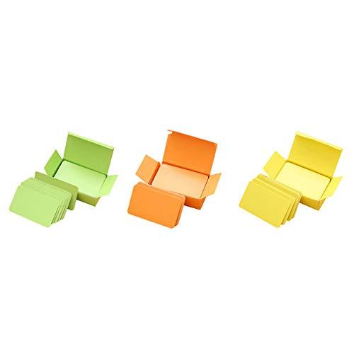 e Blanko Papier Karten Lernkarten Karteikarten Study Flash Card, 90 Blätter Grün + 90 Blätter Orange + 90 Blätter Gelb ()