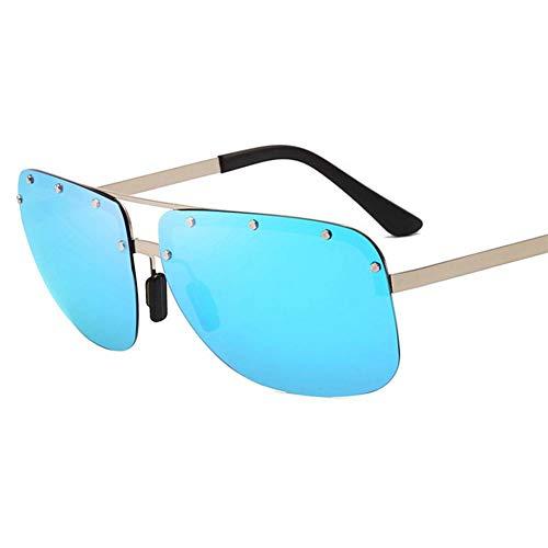 YLNJYJ Herren Polarisierte Sonnenbrille Vintage Randlose Niete Fahren Sonnenbrille Brille Mode Männlichen Anti-Uv Sonnenbrille Brillen Shades