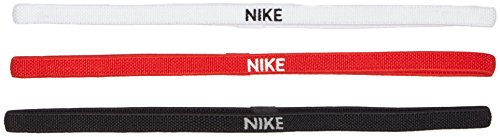 Elastici Tennis NIKE Sport Swoosh Hairbands Pacco 3 pezzi capelli FEDERER NADAL (BLACK/WHITE/RED)