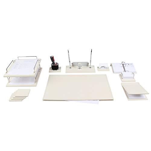 Lussodor 'Liwa' 12 teilige Luxuriöse Schreibtischunterlage Set Schickes Büroset aus hochwertigen Kunstleder Schreibunterlage Set mit doppelte Dokumentablage & Namensschild in 6 Farben, Farbe:Beige