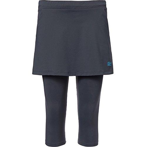 Sportkind Mädchen & Damen Tennis / Hockey / Running 2-in-1 Rock mit Leggings, grau, Gr. S (Tennis-skort)