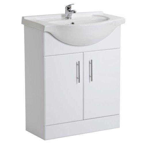 White Gloss Bathroom Vanity Unit Basin Sink 650mm Cloakroom Storage Cabinet Ceramic Furniture