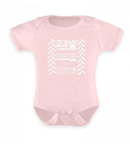 Traktor Shirt · Landwirtschaft · Geschenk für Landwirte · Spruch: Hof Traktor und Bier - Baby Body -6-12 Monate-Puder Rosa