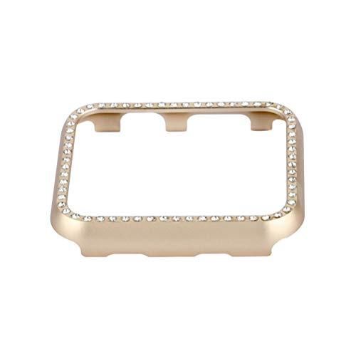 Hemobllo Smart Watch Face Case mit Bling Kristalldiamanten Plate Case Cover Schutzfolie Case Bumper für Apple Watch Series 3/2/1 (Golden 38mm)