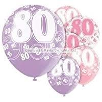 80TH BIRTHDAY BALLOONS X6 PER PACK (NEW UNIQUE pink)