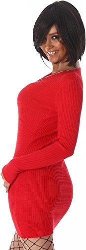 Luxestar Damen Strickkleid Longpulli Pullikleid Rippmuster Strass-Reißverschluss (34 - 40) Rot