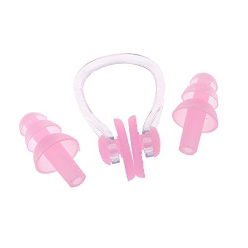 MagiDeal Schwimmen Ohrenstöpsel Nasenclip Nasenklemme Nasenclip mit Aufbewahrungsbox für Erwachsene und Kinder - Rosa