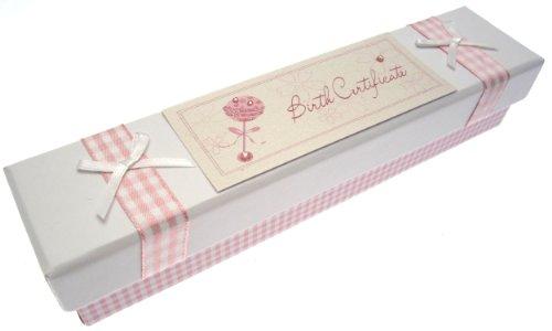 White Cotton Cards Baby Zertifikat Halter (Pink Rassel) -