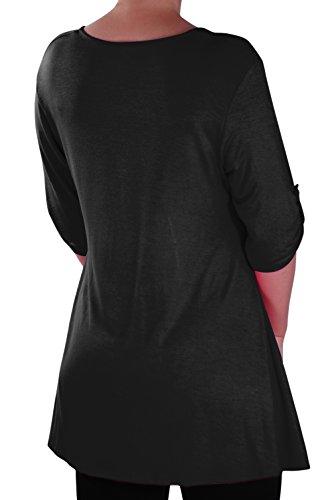 EyeCatch - Eva Aux femmes Bouton Avant Aavec Encolure Dégagée Tunique Grande Taille Dames T-shirt Long Tops Noir