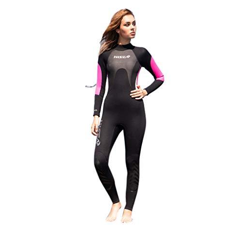 AIni Damen Neoprenanzug,Sexy Sport Wetsuit Schwimmen Surfanzug Surfen Tauchen Sport Badeanzug 3MM Sunblock Neoprenanzug Für Frauen Zum Tauchen Surfen Schwimmen Voll B(XXL,Schwarz)
