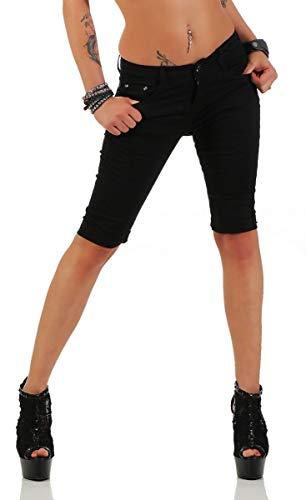 Fashion4Young 11195 Damen Caprihose Bermudas Sommerhose Freizeithose Capri Chino Hose (XL=42, schwarz)