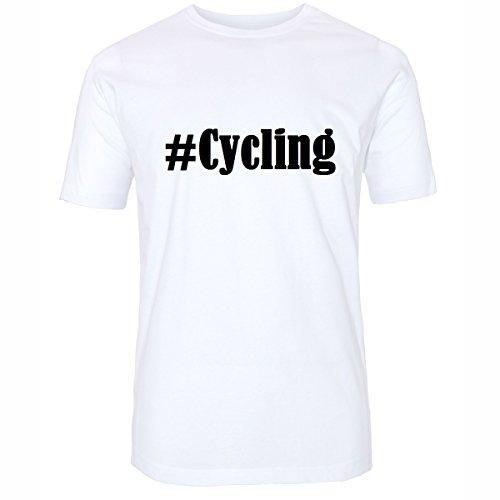 T-Shirt #Cycling Hashtag Raute für Damen Herren und Kinder ... in den Farben Schwarz und Weiss Weiß