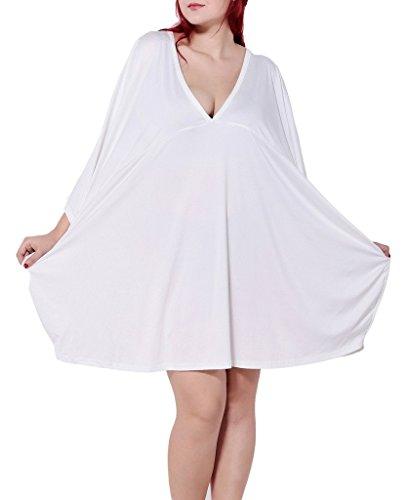 Bigood T-shirt Loose Femme Robe Mi-longue Manche Chauve-souris Col V Eté Casual Blanc