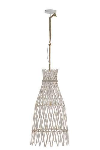 Grande lampe suspension ethnique en bambou blanc