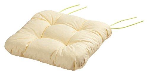 Stuhlkissen Sitzkissen Kissen mit Bändern 40x40x8 cm Kapstadt vanille