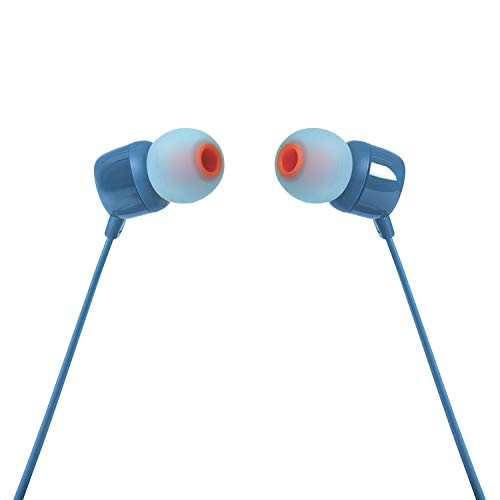 JBL T110 in-Ear Headphones with Mic (Blue) Image 3
