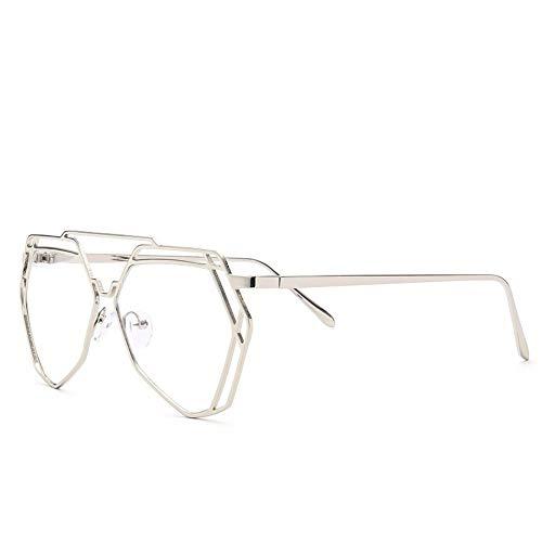AdorabFrames Brille Persönlichkeit flacher Spiegel Mode Metall Brillengestell Trend Brillengestell Silberrahmen