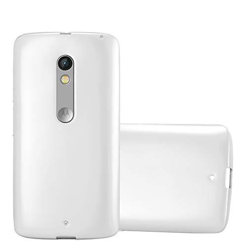 Cadorabo Hülle für Motorola Moto X Play - Hülle in METALLIC Silber – Handyhülle aus TPU Silikon im Matt Metallic Design - Silikonhülle Schutzhülle Ultra Slim Soft Back Cover Case Bumper