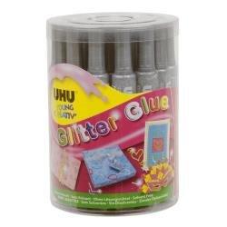 Uhu Bostik D1556 CF24 Glitter Glue, Argento, 20ml
