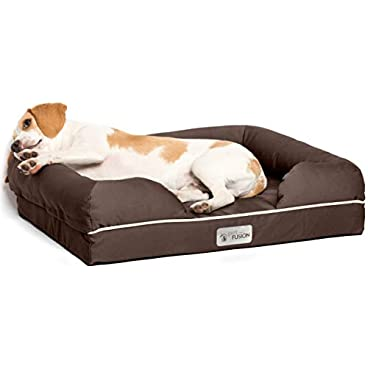 PetFusion Ultimate Solid 10cm WATERPROOF Memory Foam Dog Bed for Medium & Large Dogs (91x71x23cm orthopedic dog mattress; Chocolate). Replacement covers & blankets also avail