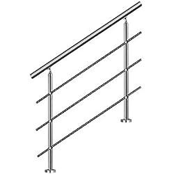 LZQ 80cm Main courante en acier murale Garde-corps inoxydable avec 3 poteaux traverses pour escaliers, balustrade, balcon
