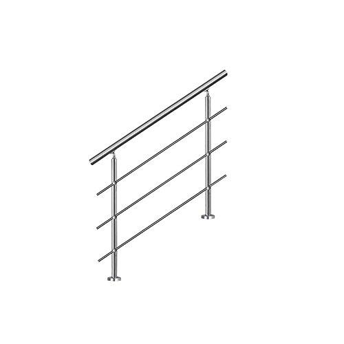 LZQ 80cm Barandilla de acero inoxidable, pared pasamanos escaleras barandilla con 3...