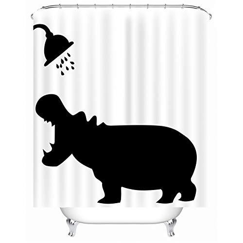 X-Labor Lustig Tier Schatten Duschvorhang 240x200cm Wasserdicht Anti-Schimmel Polyester Textil Stoff Badewannevorhang Shower Curtain Nilpferd 240x200cm (Duschvorhang Grau In)