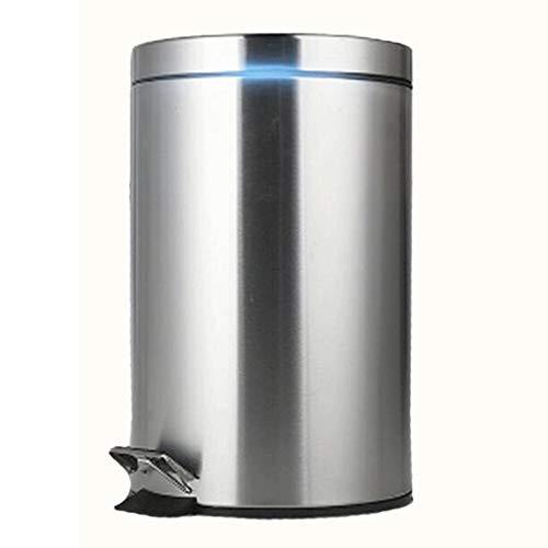 Papierkorb Runde Schritt Mülleimer, Edelstahl Schritt Mülleimer Pedal Badezimmer Bin, Küche, Büro, zu Hause, leise und sanft öffnen und schließen/Indoor Mülleimer 12L (15,6 x 9,8 Zoll) Abfalleimer (Papierkorb Edelstahl öffnen)