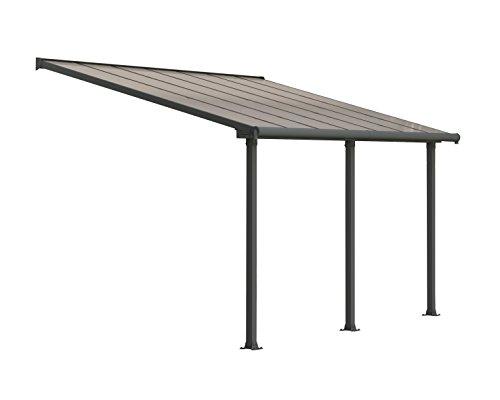 Palram Olympia Pergola Adossée 3x4 Aluminium Et Polycarbonate, pour Couvrir Une Terrasse Toute L'année - Garantie 12 Ans (12,5m², Gris)