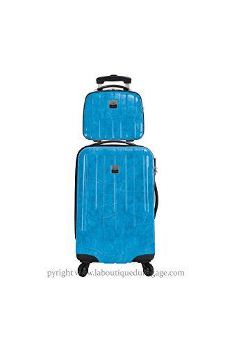 FRANCE BAG - FRANCE BAG Set Valise rigide et Vanity CANCUN Bleu Crocodile - 141626-2-BEC