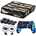9CDeer Soft Neoprene Dirt Dust Protective Cover camouflage for PS4 PRO Horizontal Version + 1 Piece Controller Silicone Cover Skin camouflage blue + 2 Pieces Controller Dust Proof Plugs + 8 Pieces Thumb Grips from 9CDeer