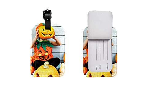 PU-Leder-Gepäcketikett Koffer, verstellbares Lederband Kratzfest Etikett, stilvolles Design Halloween-Kürbis Zeichnen