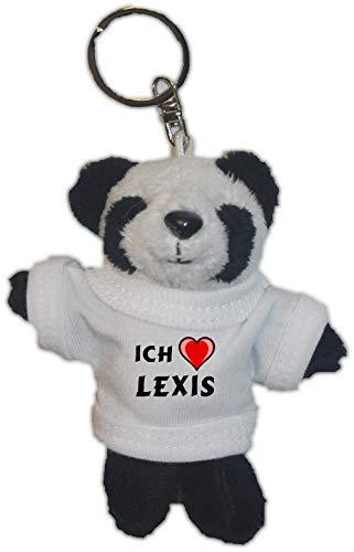 SHOPZEUS Plüsch Pandabär Schlüsselhalter mit T-Shirt mit Aufschrift Ich Liebe Lexis (Vorname/Zuname/Spitzname)