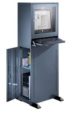QUIPO Computerschrank - Standardausführung blaugrau - Computerschrank Computerständer EDV-Möbel EDV-Schrank LAN-Schrank PC-Schrank PC-Station Schrank Workstation