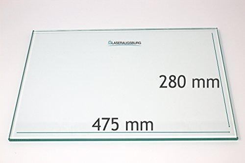 Kühlschrank Einlegeboden/Glasplatte/Gemüsefach – Klarglas 4 mm dick - 475 mm x 280 mm – Direkt vom Glasereifachbetrieb!!!