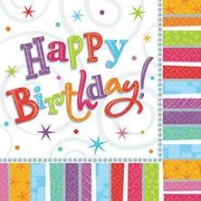 RADIANT Servietten 3lg. 32,7x32,7cm Happy Birthday Geburtstag, 16 Stück,