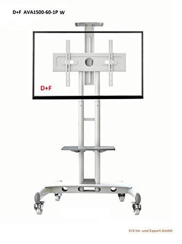 AVA1500-60-1P Ständer Standfuss für LCD LED Plasma Bildschirm Monitor, TV Trolley,TV Wagen, Mobil mit feststellbaren Rädern Aus Stahl Weiss (Weiß Tv-wagen)