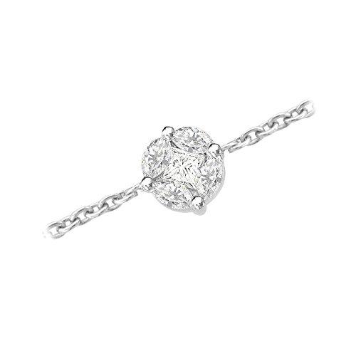 Or Blanc 9 ct Bracelet Diamant en forme de fleur, 0.68 Ct Diamant, GH-SI, 0.55 grammes.