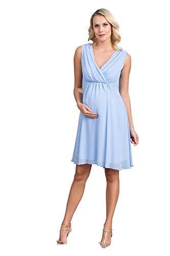 M.M.C. Chiffon Umstands-Kleid im Empire-Stil - Damen Gerafftes Abendkleid Cocktail-Schwangerschaftskleid - Partykleid V-Ausschnitt Knielang Ärmellos (Babyblau, 44)