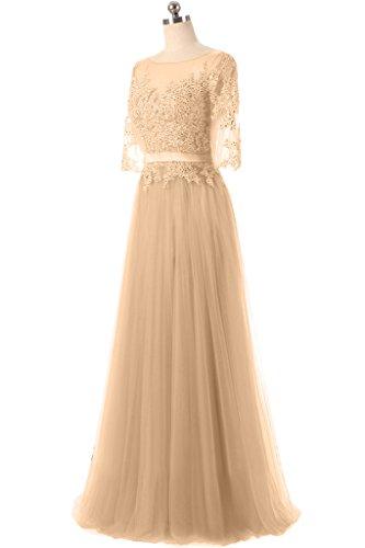 ivyd ressing Femme Haute Qualité col rond dentelle tuell moitié aermel Party robe Prom Lave-vaisselle robe robe du soir Champagne